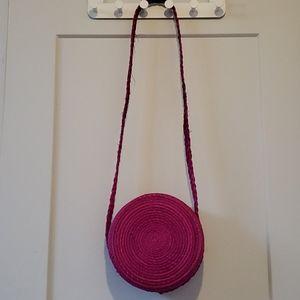 Brand new Hot pink circular rattan bag